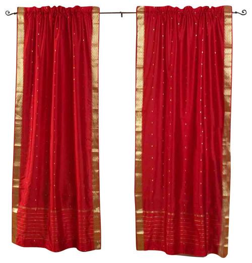 Fire Brick Rod Pocket  Sheer Sari Curtain / Drape / Panel  - Piece