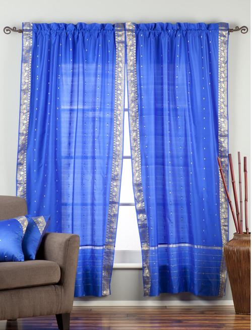 Enchanting Blue Rod Pocket  Sheer Sari Curtain / Drape / Panel  - Piece