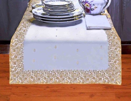 White Gold - Hand Crafted Table Runner (India)
