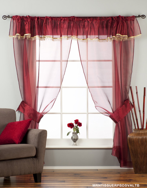 MRN-Rod Pocket Sheer Tissue Curtain w/ Beaded Valance  w/ Tieback-Piece