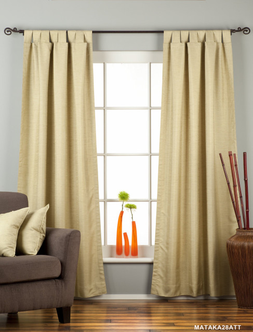 Olive Green Tab Top Matka Raw Silk Curtain / Drape / Panel - Piece