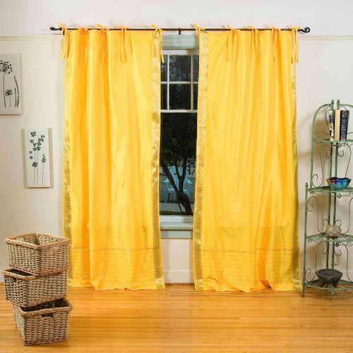Yellow  Tie Top  Sheer Sari Curtain / Drape / Panel  - Piece