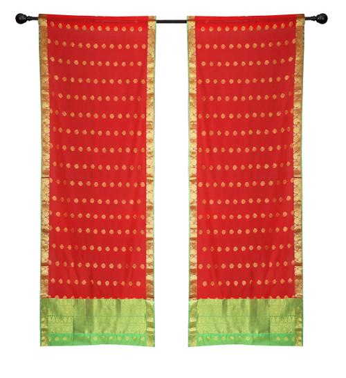 2 Red Bohemian Indian Sari Curtains Rod Pocket Living Room  Window Treatment