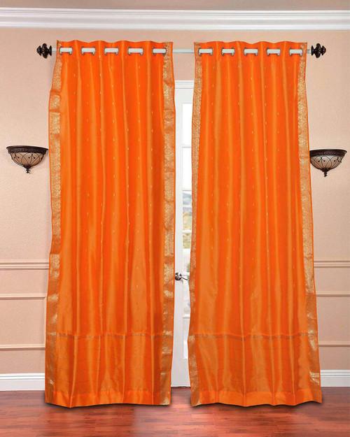 Pumpkin Ring Top  Sheer Sari Curtain / Drape / Panel  - Piece