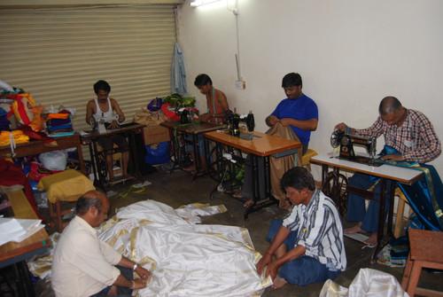 White with Gold  Tie Top  Sheer Sari Curtain / Drape / Panel  - Piece