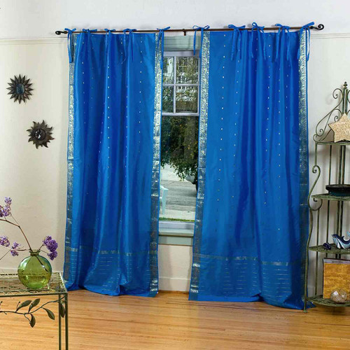 Enchanting Blue  Tie Top  Sheer Sari Curtain / Drape / Panel  - Piece