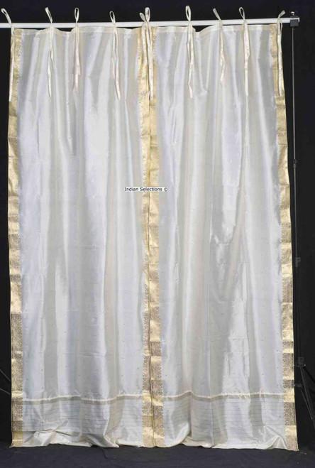Cream  Tie Top  Sheer Sari Curtain / Drape / Panel  - Piece