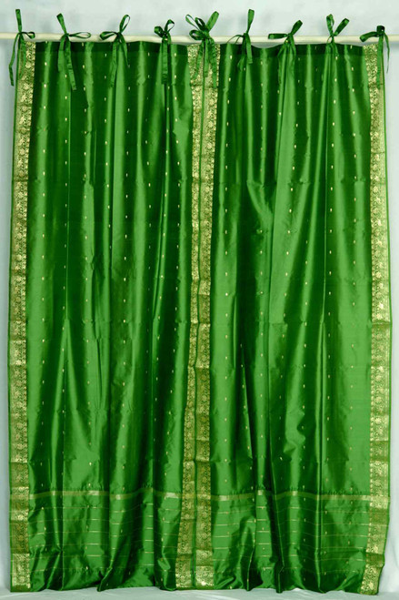 Forest Green  Tie Top  Sheer Sari Curtain / Drape / Panel  - Piece