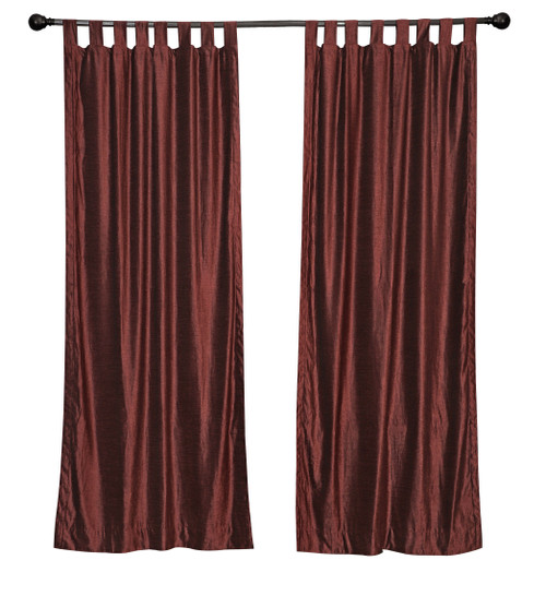 Luxury  Wine Velvet Tab Top Curtain Panels Drapes with matching tieback