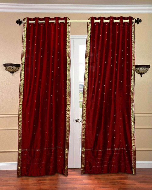 Maroon Ring Top  Sheer Sari Curtain / Drape / Panel  - Piece