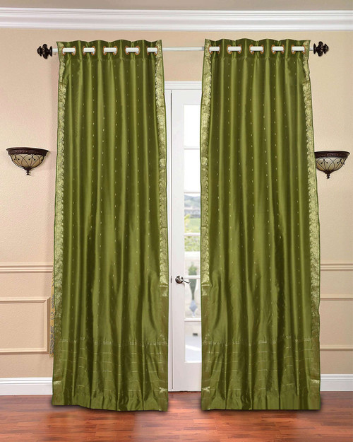 Olive Green Ring Top  Sheer Sari Curtain / Drape / Panel  - Piece