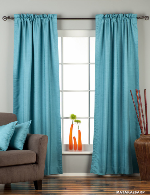 Turquoise Rod Pocket Matka Raw Silk Curtain / Drape / Panel - Piece