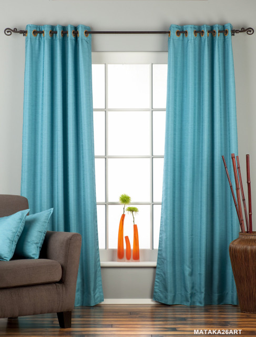 Turquoise Ring Top Matka Raw Silk Curtain / Drape / Panel - Piece