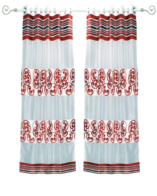 White Maroon Ring Top Tissue Curtain Panel Drape -Piece