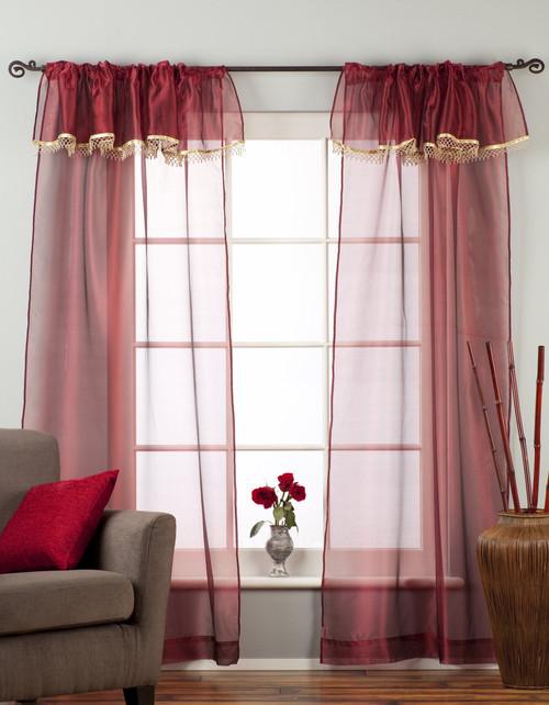 Maroon-Rod Pocket Sheer Tissue Curtain with Beaded Valance Panel Drape-Piece