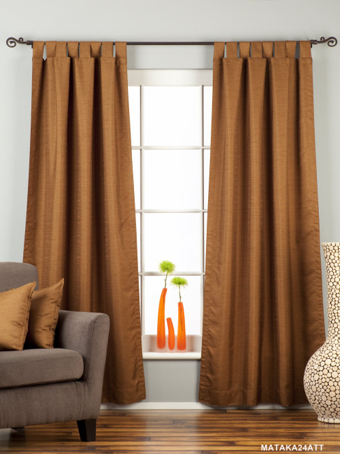 Brown Tab Top Matka Raw Silk Curtain / Drape / Panel - Piece
