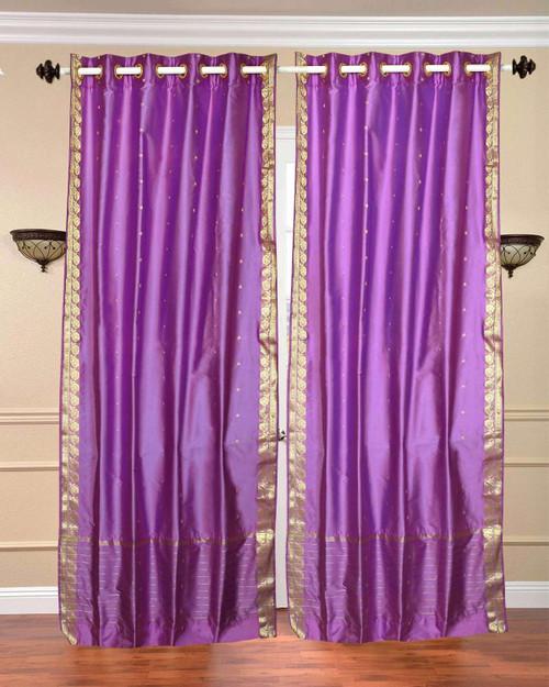 Lavender Ring Top  Sheer Sari Curtain / Drape / Panel  - Piece