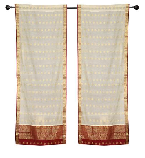 2 Cream Bohemian Indian Sari Curtains Rod Pocket Living Room  Window Treatment