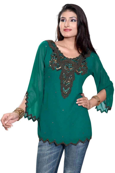 Green long sleeves Kurti/Tunic with front/back beadwork