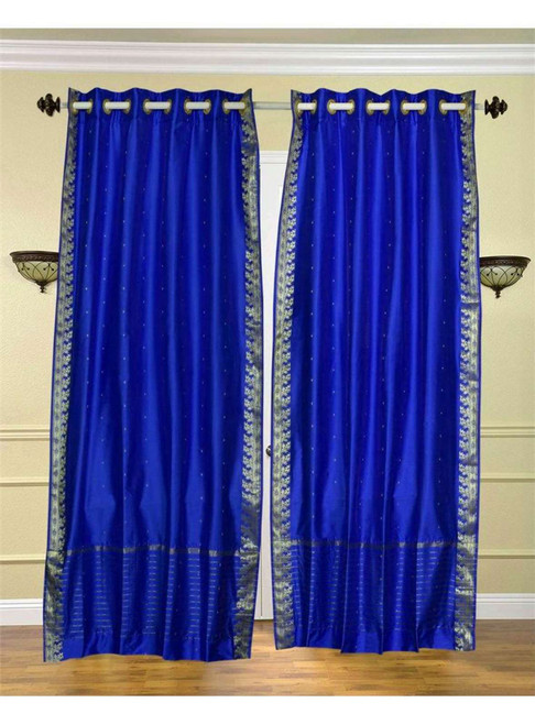 Enchanting Blue Ring Top  Sheer Sari Curtain / Drape / Panel  - Piece