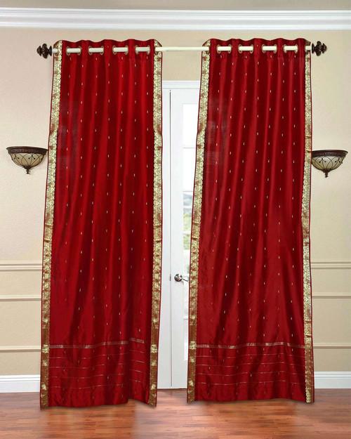 Red Ring Top  Sheer Sari Curtain / Drape / Panel  - Piece