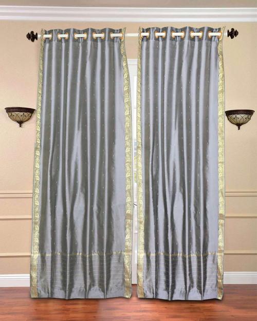 Gray Ring Top  Sheer Sari Curtain / Drape / Panel  - Piece