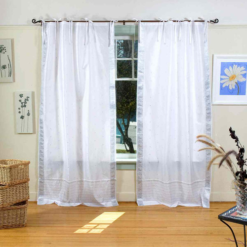 White Silver  Tie Top  Sheer Sari Curtain / Drape / Panel  - Pair
