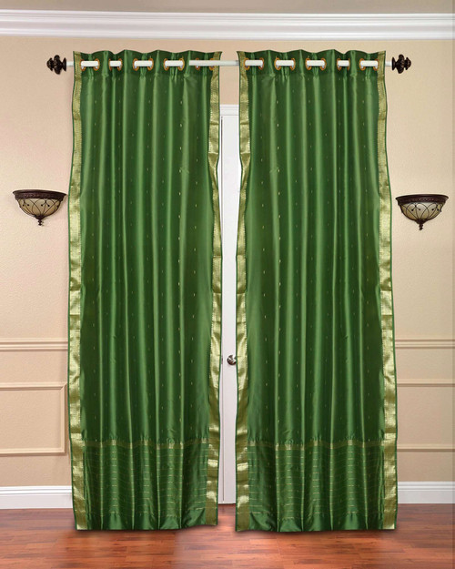 Forest Green Ring Top  Sheer Sari Curtain / Drape / Panel  - Piece
