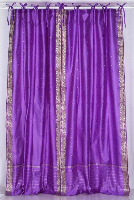 Lavender  Tie Top  Sheer Sari Curtain / Drape / Panel  - Pair