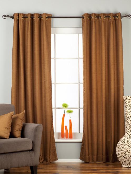 Brown Ring Top Matka Raw Silk Curtain / Drape / Panel - Piece