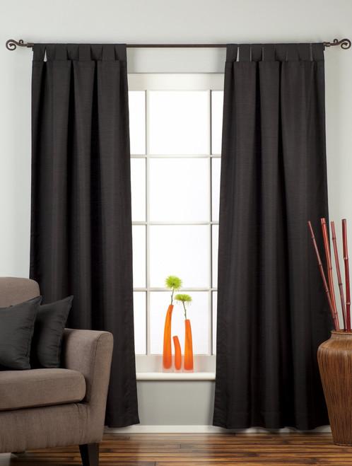 Black Tab Top Matka Raw Silk Curtain / Drape / Panel - Piece