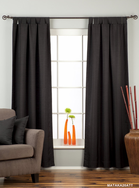 Black Tab Top Matka Raw Silk Curtain / Drape / Panel - Piece