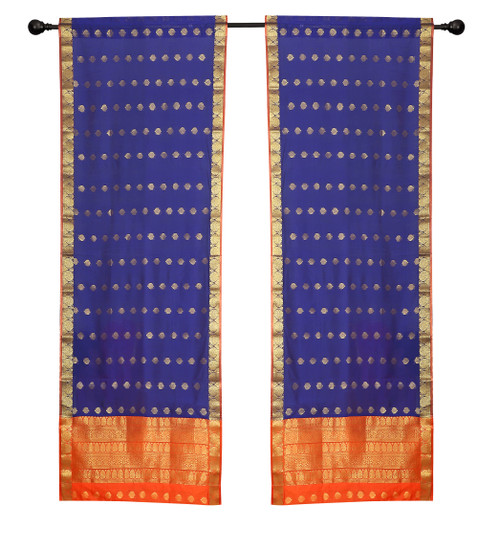 2 Blue Bohemian Indian Sari Curtains Rod Pocket Living Room  Window Treatment