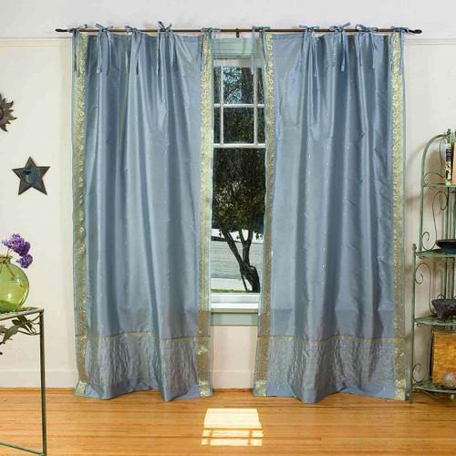 Gray  Tie Top  Sheer Sari Curtain / Drape / Panel  - Pair