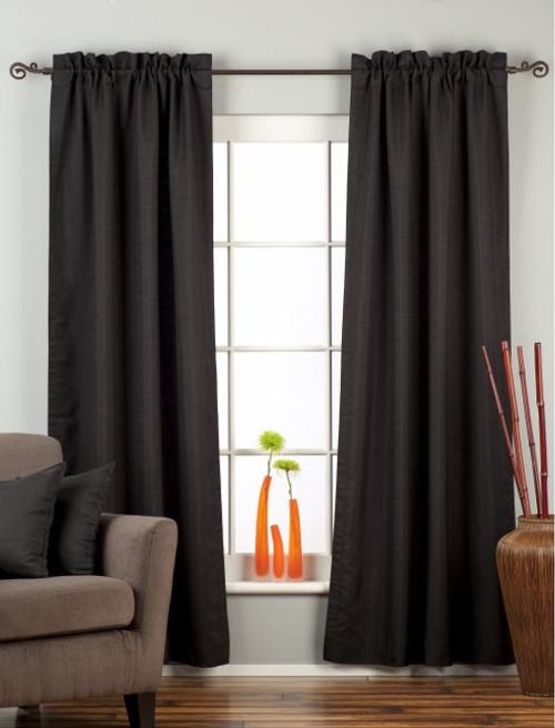 Black Rod Pocket Matka Raw Silk Curtain / Drape / Panel - Piece