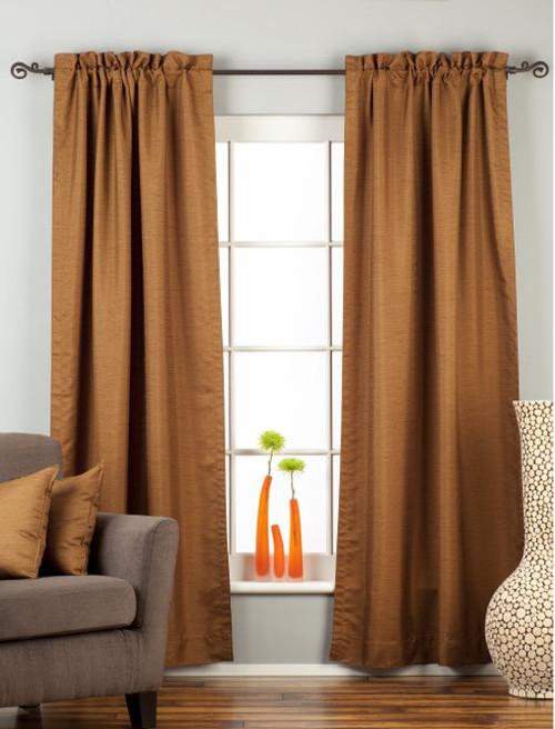Brown Rod Pocket Matka Raw Silk Curtain / Drape / Panel - Piece