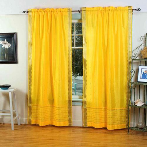 Yellow  Rod Pocket  Sheer Sari Curtain / Drape / Panel  - Pair