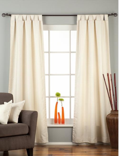 Cream Tab Top Matka Raw Silk Curtain / Drape / Panel - Piece