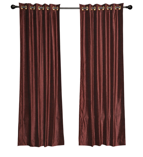 Luxury Set of 2 Wine Velvet Grommet Curtain Panels Drapes with 2 matching tiebacks