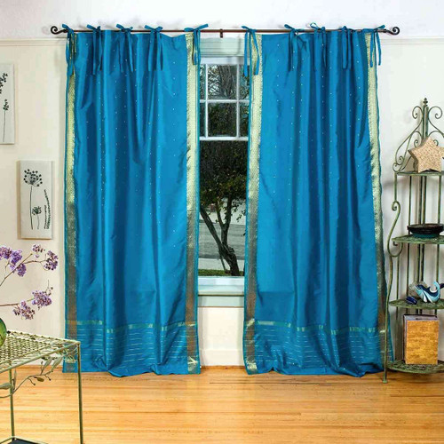 Turquoise  Tie Top  Sheer Sari Curtain / Drape / Panel  - Pair