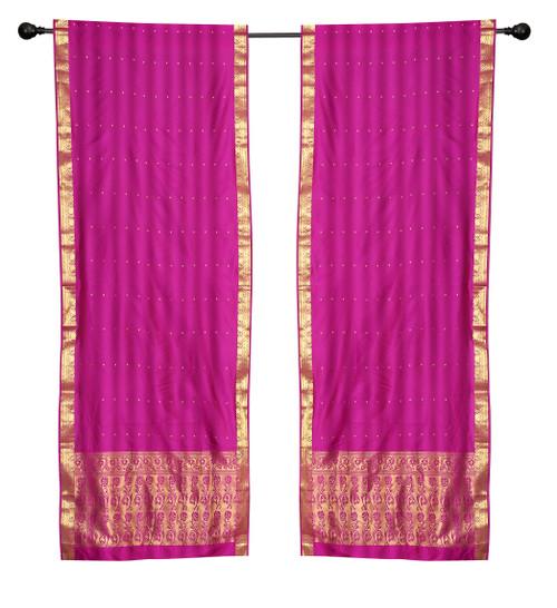 2 Boho Red Purple Indian Sari Curtains Rod Pocket Window Panels Drapes