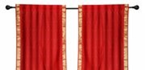 2 Boho Red Indian Sari Curtains Rod Pocket Window Panels Drapes