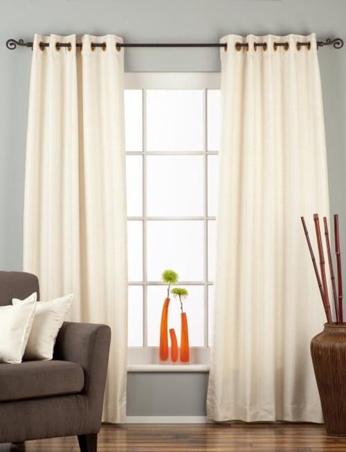 Cream Ring Top Matka Raw Silk Curtain / Drape / Panel - Piece