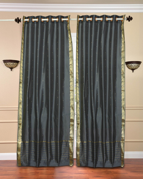 Dark Grey Ring Top  Sheer Sari Curtain / Drape / Panel  - Piece