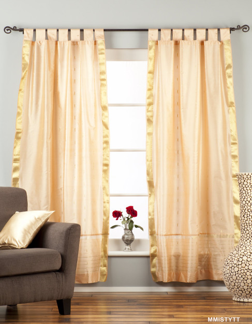 Misty Rose  Tab Top  Sheer Sari Curtain / Drape / Panel  - Pair