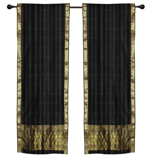 2 Boho Black Indian Sari Curtains Rod Pocket Window Panels Drapes