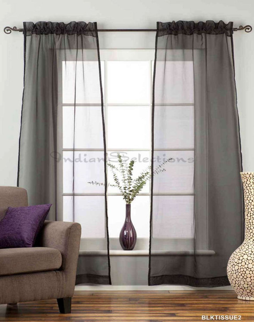Black - Rod Pocket Sheer Tissue Curtain Panel Drape - Various Sizes