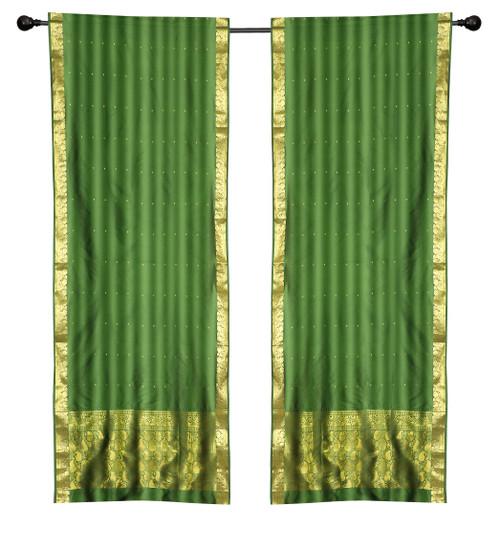 2 Boho Green Indian Sari Curtains Rod Pocket Window Panels Drapes