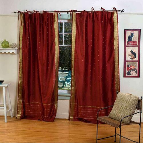 Rust  Tie Top  Sheer Sari Curtain / Drape / Panel  - Pair