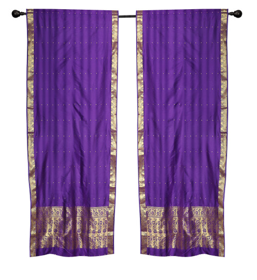 2 Boho Purple Indian Sari Curtains Rod Pocket Window Panels Drapes
